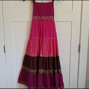 Monsoon pink/purple/gold bohemian style dress